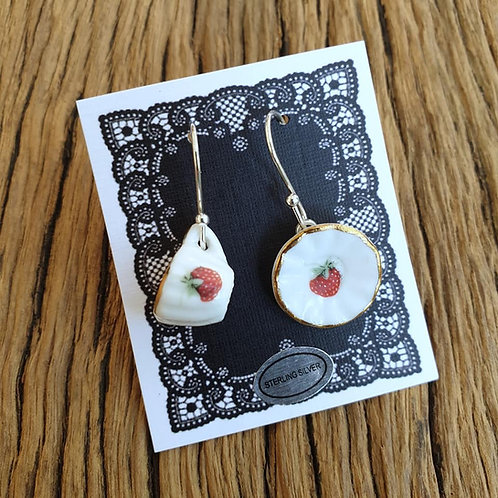 strawberry shortcake cup & saucer earrings