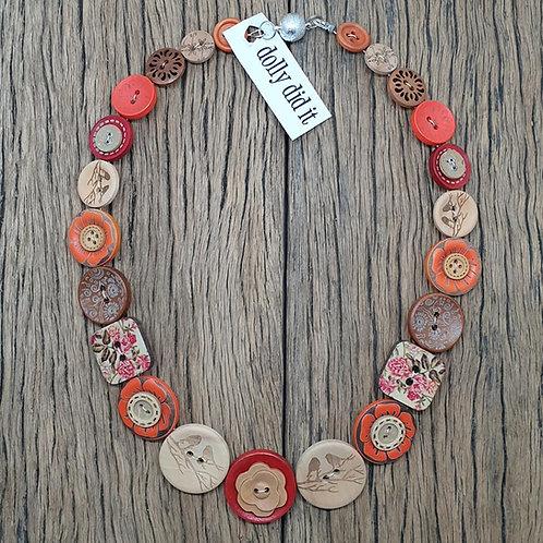 Orange Peonie Button Necklace