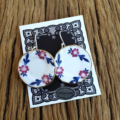 mauve & blue floral side-plate earrings