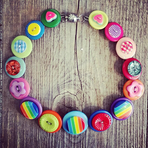 Colours of the Rainbow Button Necklace