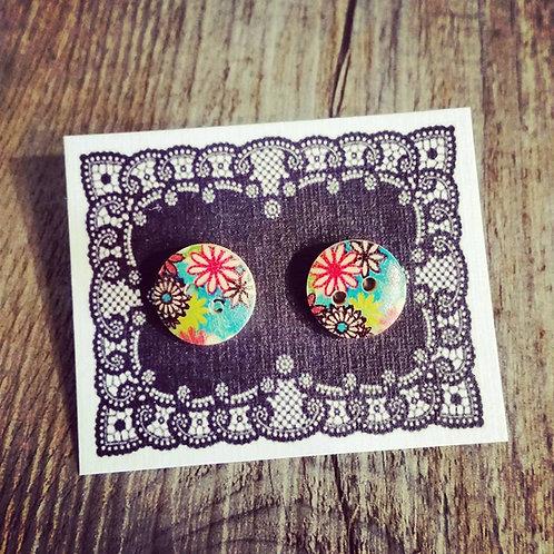 floral 13mm button studs