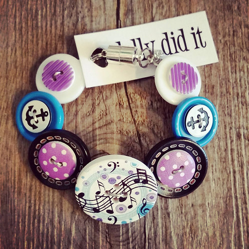 music is food for the soul button bracelet