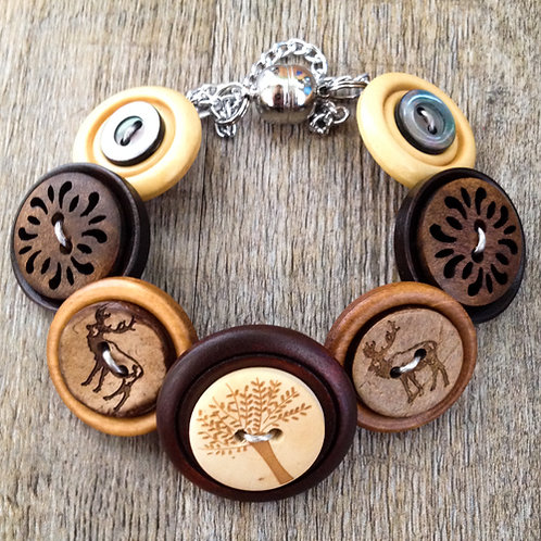 deep in the woods button bracelet