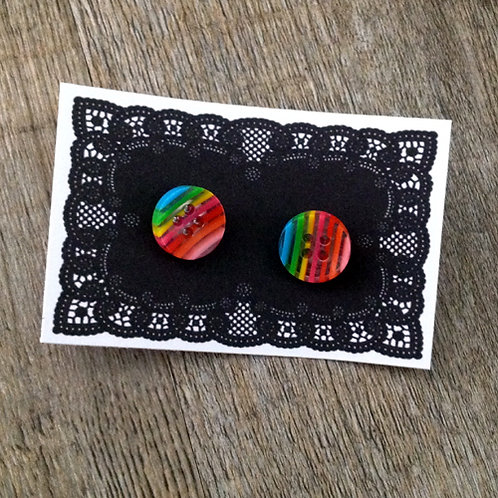 rainbow 13mm button studs