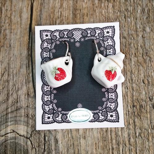 strawberry shortcake milk & sugar earrings