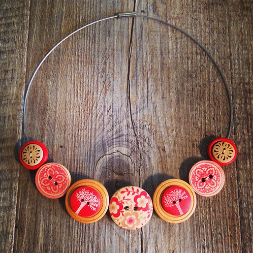 red floral trees cable necklace