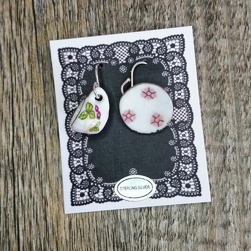 spring flower cup & saucer earrings