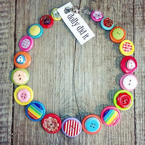 multi-brights button necklace