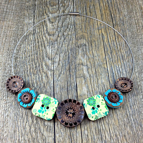 retro floral wire cable necklace