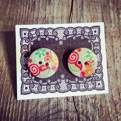 swirly flowers 18mm button studs