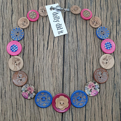 Roses are Blue Button Necklace