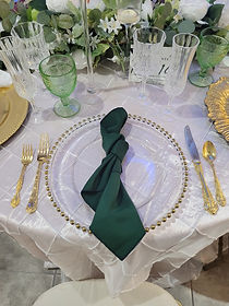 Gold Flatware and Glass Beaded Charger $