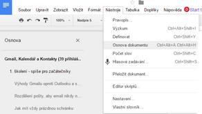 Vložte si osnovu do Google Dokumentu