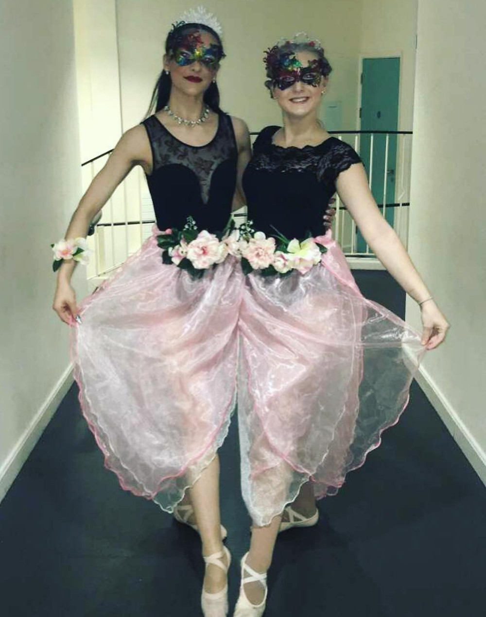 Me & Carys backstage during Jack & The Beanstalk, 2019 in our costumes for the 'Beautiful Ballet'.