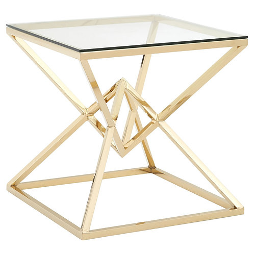 LUXE Allure Corseted Square Champagne End Table