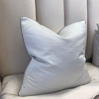 WHITE AND GREY WEAVE WITH GREY PIPING 55x55cm