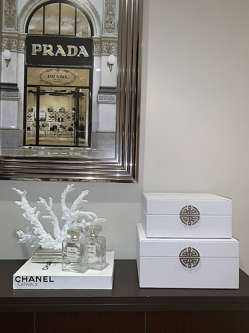 SET OF 2 WHITE LEATHER BOXES