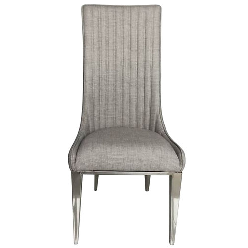 FAUX LEATHER STITCHED HIGH BACK CHAIR TAUPE