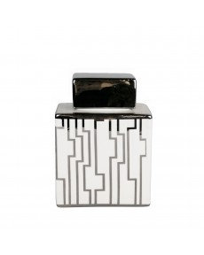 LARGE WHITE AND SILVER GEOMETRIC JAR