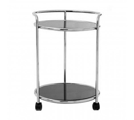 2 TIER BLACK AND SILVER NOVO DRINKS TROLLEY