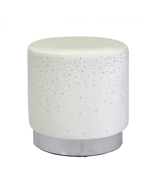 IVORY ROUND FOOTSTOOL WITH SPARKLE PATTERN