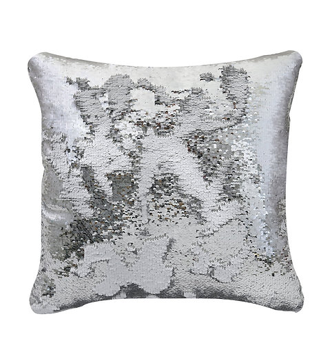 LARGE WHITE AND SILVER MERMAID CUSHION