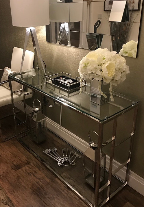 SKYLER CHROME AND GLASS CONSOLE TABLE
