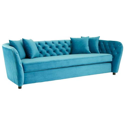 LUXE Riva Cyan Velvet 3 Seat Sofa