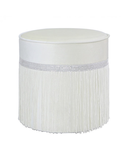 IVORY ROUND FOOTSTOOL WITH DIAMONTE BAND