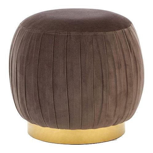 LUXE Louxor Grey Velvet Round Footstool