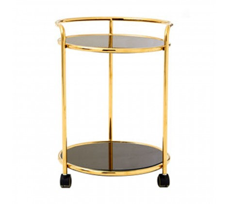 2 TIER BLACK AND GOLD NOVO DRINKS TROLLEY