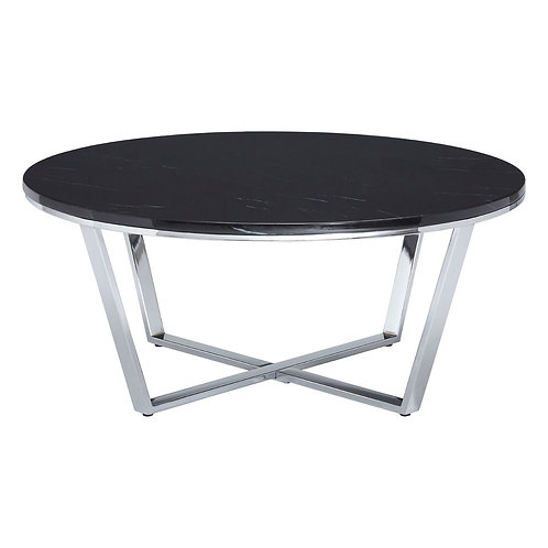 LUXE Allure Round Black Faux Marble Coffee Table