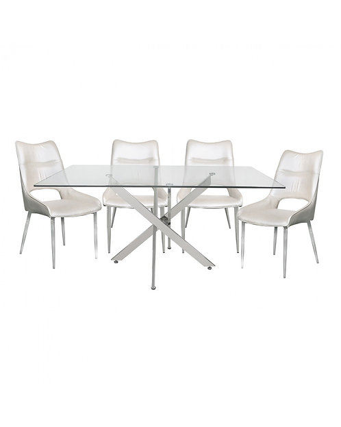 Nova 160cm White Rectangular Dining Set