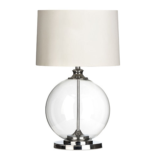 LUXE GLASS SPHERE LAMP WITH WHITE SHADE