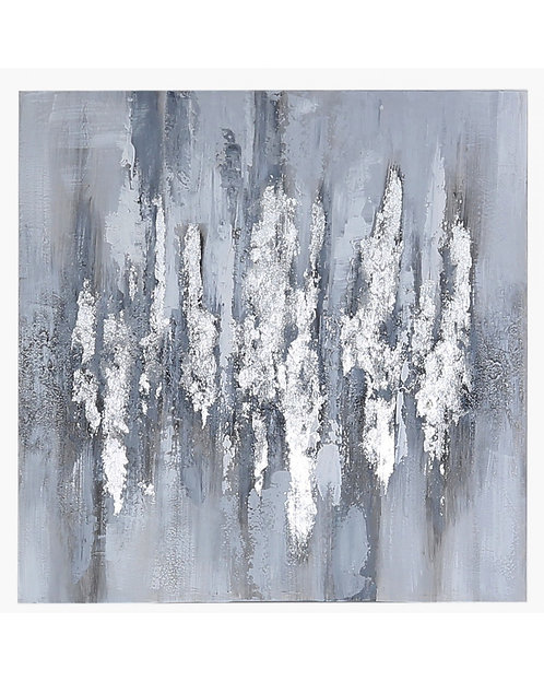 SILVER ABSTRACT WALL ART CANVAS