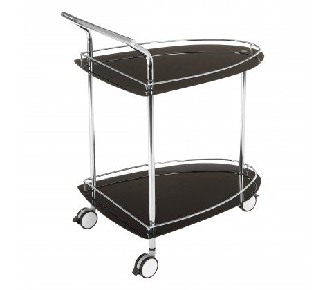 BLACK GLASS AND CHROME DRINKS TROLLEY