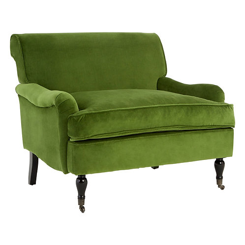 LUXE Green Velvet Large Plush Armchair