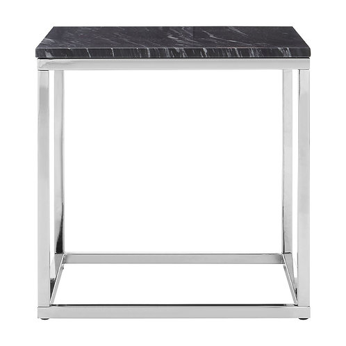 LUXE Allure Square Black / White Marble End Table