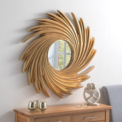 GOLD CIRCLE SWIRL MIRROR