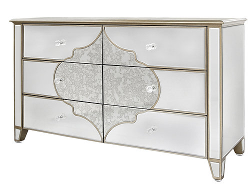 MIRRORED MOROCCAN LARGE CHEST OF DRAWERS