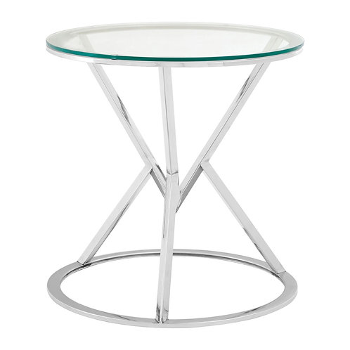 LUXE Allure Corseted Round Silver End Table