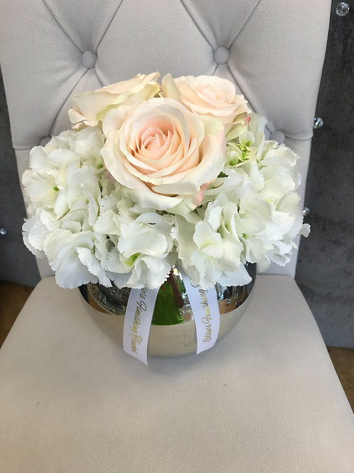 SILVER BOWL WITH WHITE HYDRANGEAS AND BLUSH ROSES