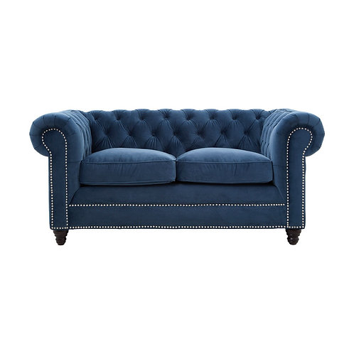LUXE Stella Stud Detail 2 Seat Sofa Blue