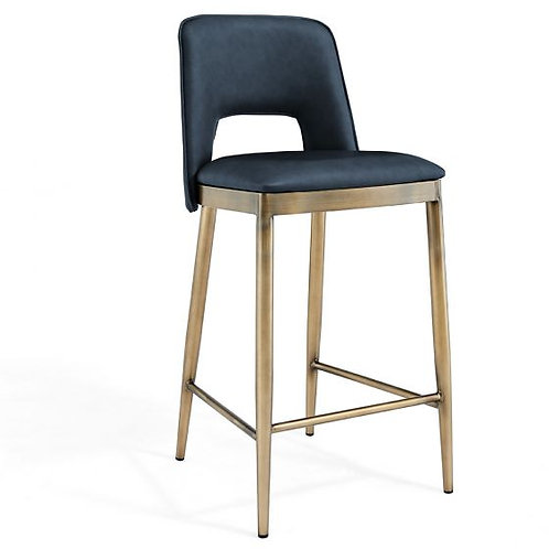 ATWOOD NIGHT BLUE FAUX LEATHER BAR STOOL