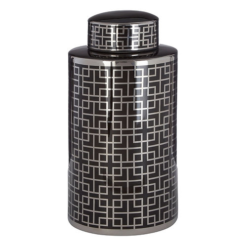 BLACK AND SILVER GINGER JAR LARGE