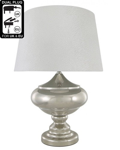 CHROME STATEMENT LAMP WITH WHITE SNAKESKIN  VELVET SHADE