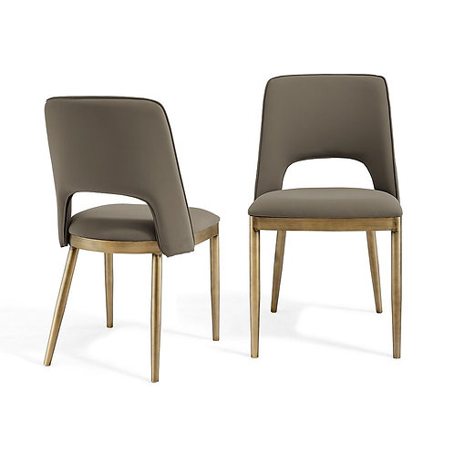 ATWOOD TAUPE FAUX LEATHER DINING CHAIR (SET OF 2)