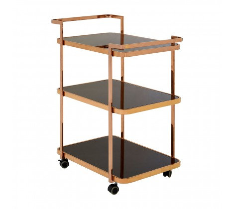 3 TIER BLACK GLASS AND ROSE GOLD DRINKS TROLLEY