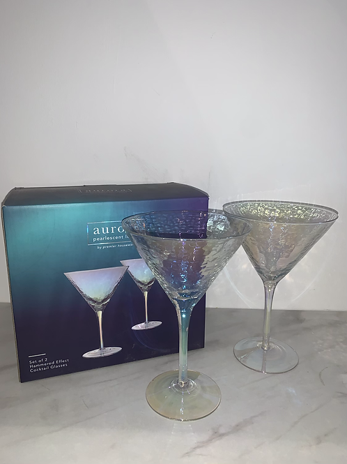SET OF TWO IRIDESCENT MARTINI GLASSES