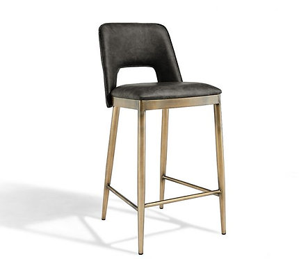 ATWOOD VINTAGE GREY FAUX LEATHER BAR STOOL